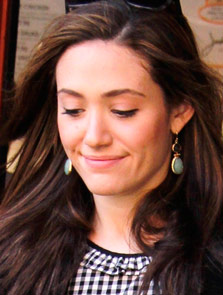 Emmy Rossum wearing the Amelia Drop Earrings
