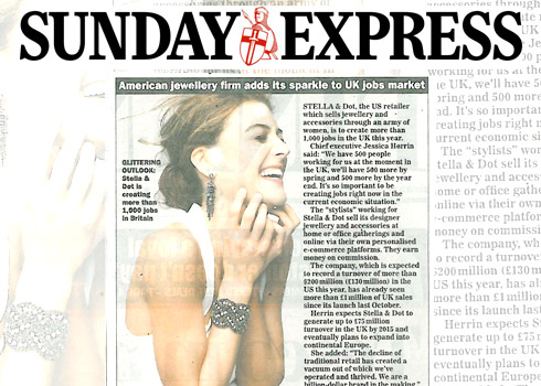 """Sunday Express - 15/1/2012  """"American jewellery firm adds its sparkle to UK job market"""""""